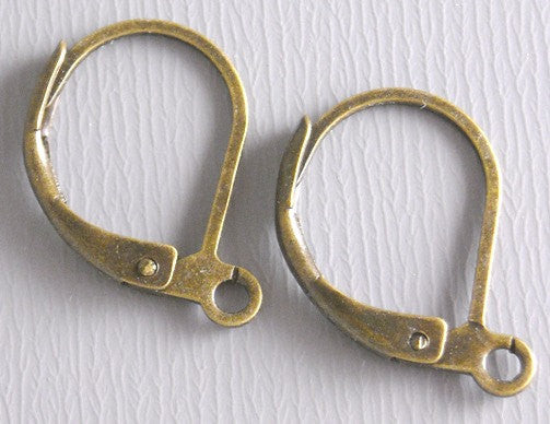 Hoop Earrings with Lever Back - Grade AA - Antique Bronze - 15mm - 20 pcs