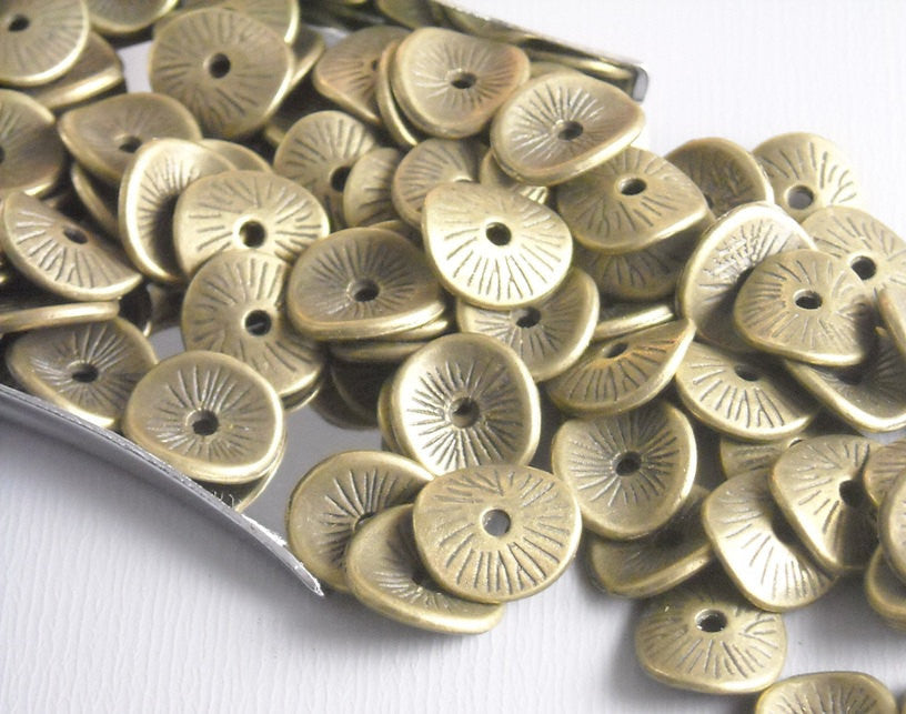 Antique Bronze Potato Chip Spacers - 20 pcs
