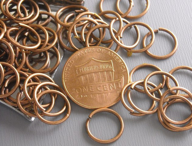 50 of 10mm Antique Copper Open Jump Rings - Pim's Jewelry Supplies