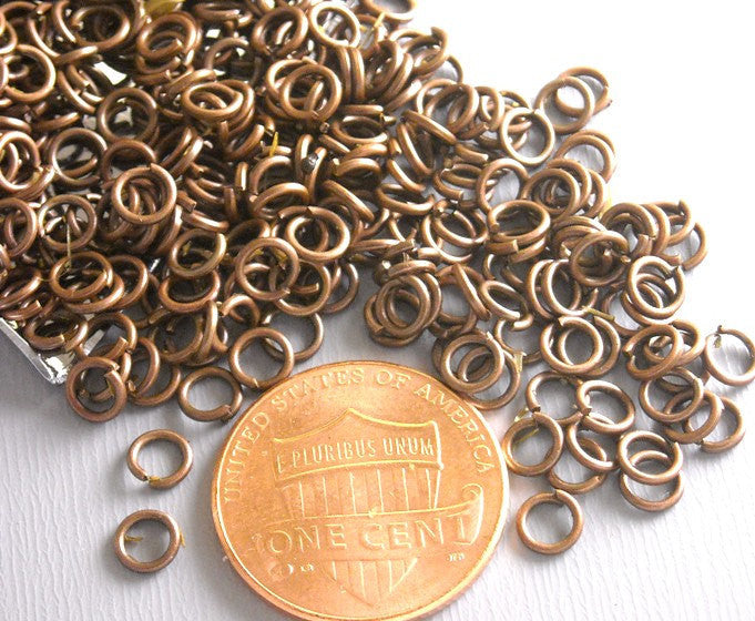 100 of 4mm Antique Copper Open Jump Rings