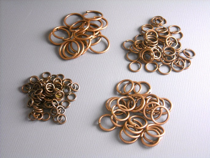 100 MIXED Antique Copper Open Jump Rings - 4mm, 6mm, 8mm & 10mm - Pim's Jewelry Supplies