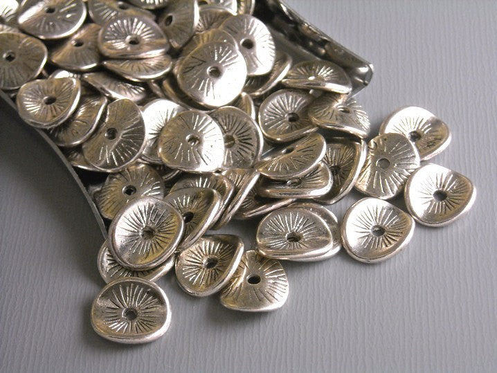 20 pcs Antique Silver Potato Chip Spacers - Pim's Jewelry Supplies