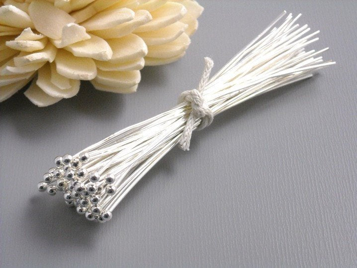 Headpins - Silver Plated - 0.6mm Thick - 50mm (2 inches) - 50 pcs - Pim's Jewelry Supplies