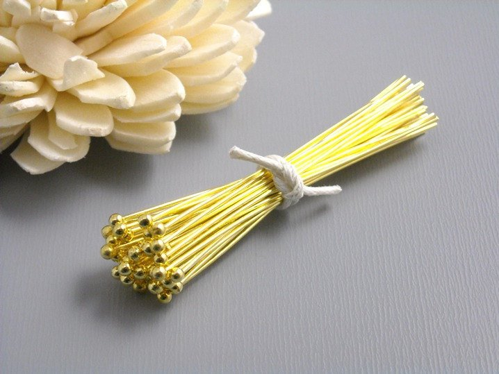 Headpins - 14k Gold Plated - 0.6mm Thick - 50mm (2 inches) - 50 pcs - Pim's Jewelry Supplies