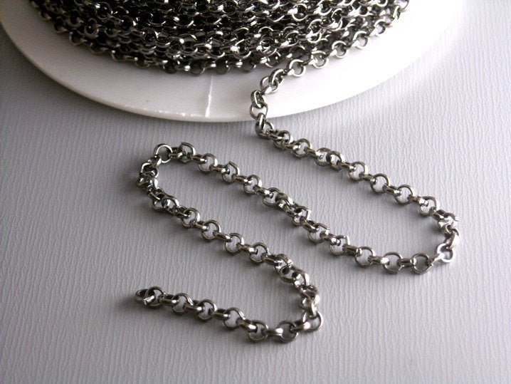 10-Feet 2.5mm Gunmetal Rollo Chain - Pim's Jewelry Supplies