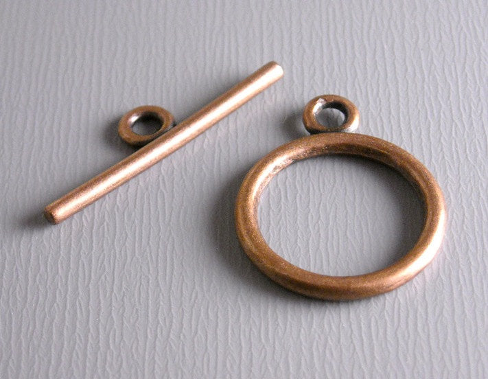 Antique Copper Toggle Clasps - 10 sets