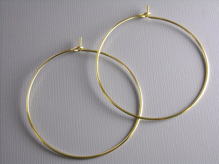25mm Antique Copper Hoop Earrings, Leverback - 10 pcs