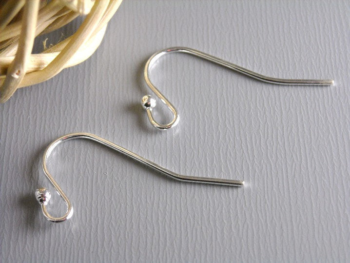 50 pcs of 22mm Silver Plated Earwire with Ball Tip