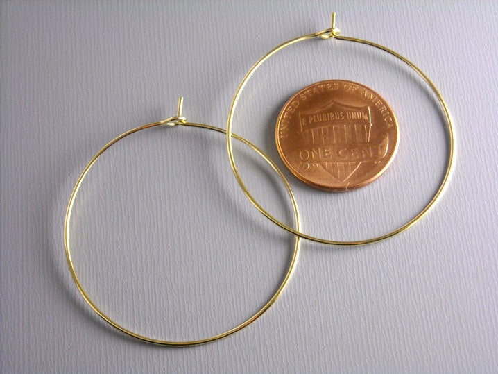 Hoop Earrings - Gold Plated - 35mm - 20 pcs (10 pairs)
