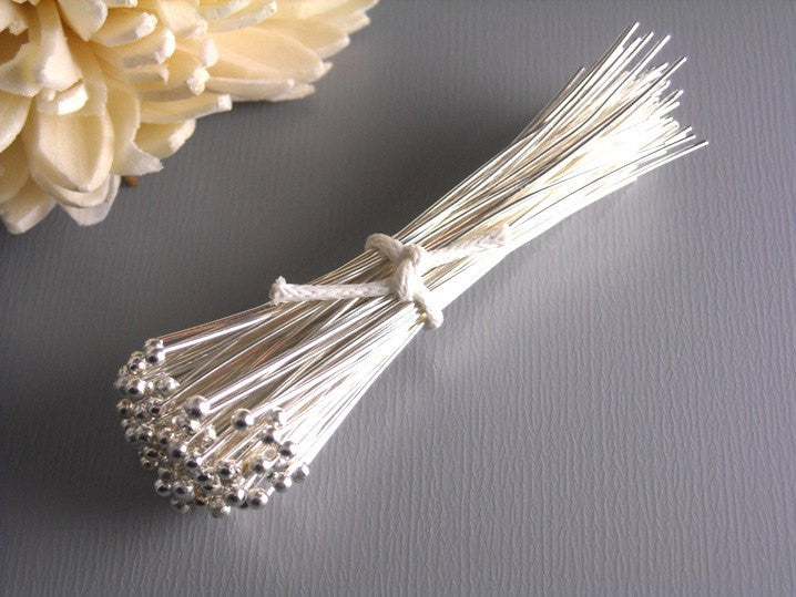 26 gauge Silver Plated Ball End Headpins 50mm - 50 pcs