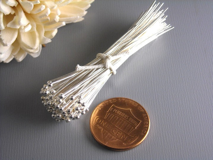 26 gauge Silver Plated Ball End Headpins 50mm - 50 pcs - Pim's Jewelry Supplies