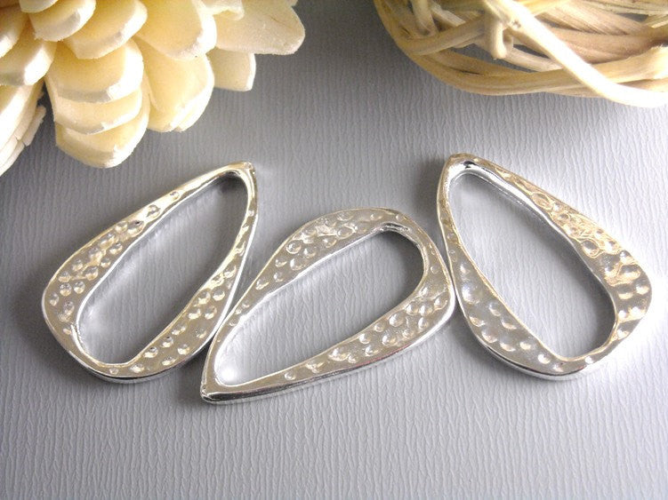 Silver Plated Textured Charm/Linking Ring - 6 pcs