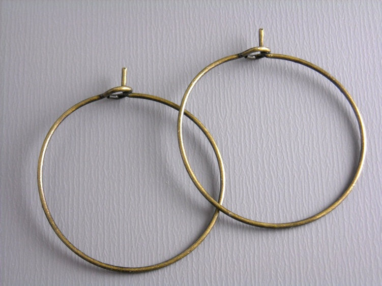 25mm Antique Bronze Hoop Earrings - 20 pcs (10 pairs) - Pim's Jewelry Supplies