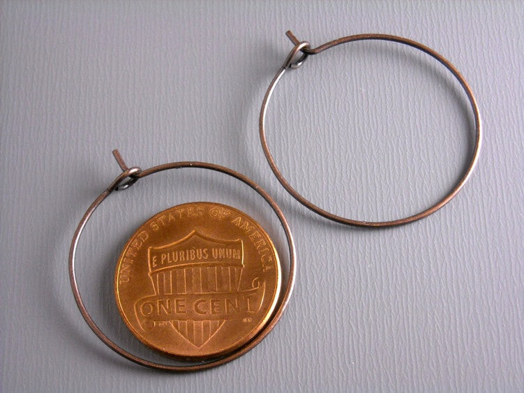 25mm Antique Copper Hoop Earrings  - 20 pcs (10 pairs)