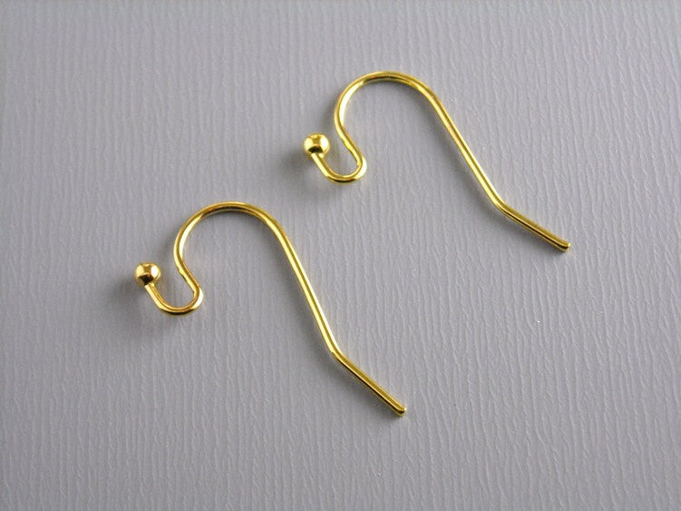 50 pcs of 22mm 14k Gold Plated Earwire with Ball Tip