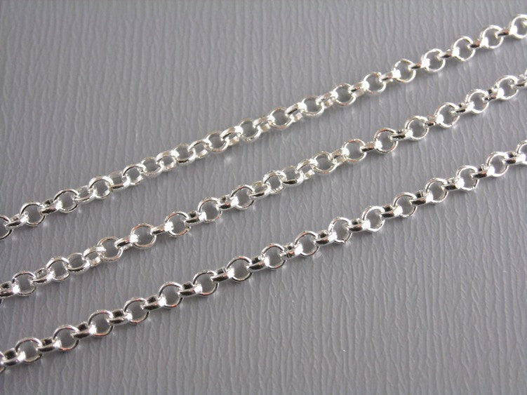 10-Feet Rollo Silver Plated Chain, 2mm