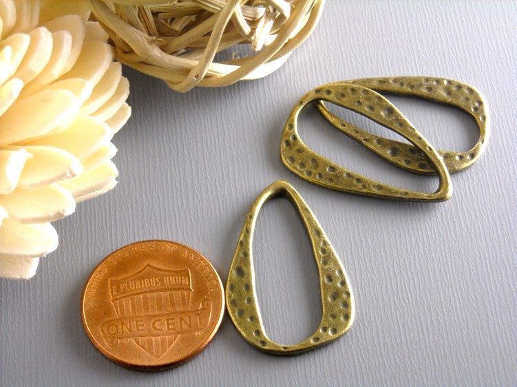 Links - Antique Bronze - Textured - 6 pcs - Pim's Jewelry Supplies