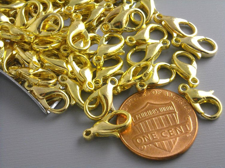 Gold Plated Lobster Clasps - 12mm x 6mm - 100 pcs - Pim's Jewelry Supplies