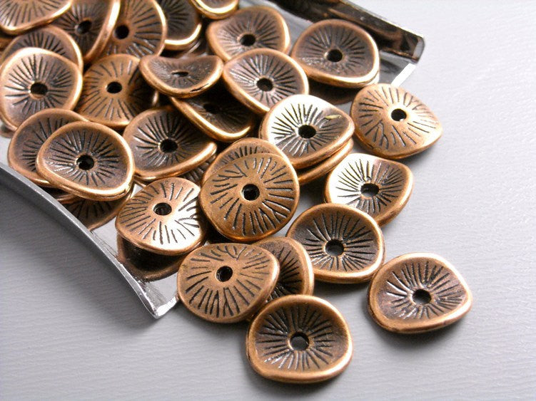 Antique Copper Potato Chip Spacers - 20 pcs