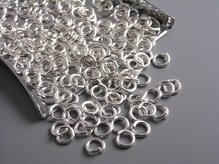 100 of 4mm Silver Plated Round Open Jump Rings