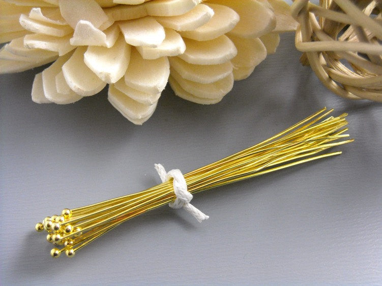 26 gauge 14K Gold Plated Ball End Headpins, 50mm - 50 pcs