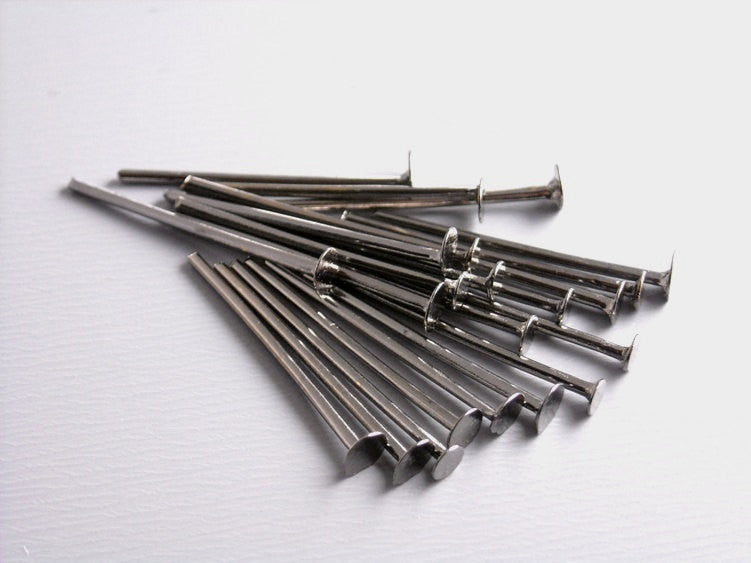 50 pcs of 20mm Gunmetal Plated Headpins (20 guage) - Pim's Jewelry Supplies