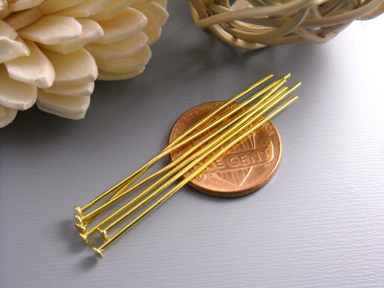 50 pcs of 45mm Gold Plated Headpins (20 guage)