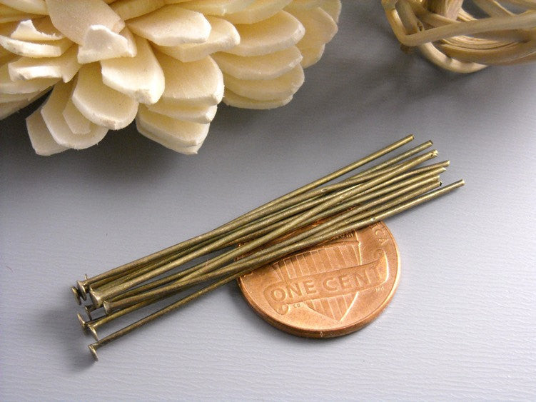 100 pcs of Silver Plated Eyepins, 21 gauge, 50mm (2 inches)
