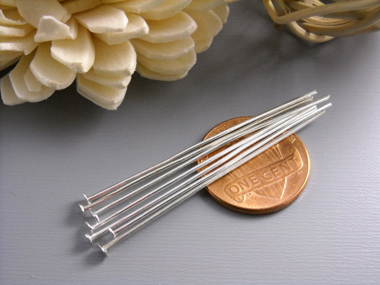 100 pcs of 45mm Silver Plated Headpins (20 guage)