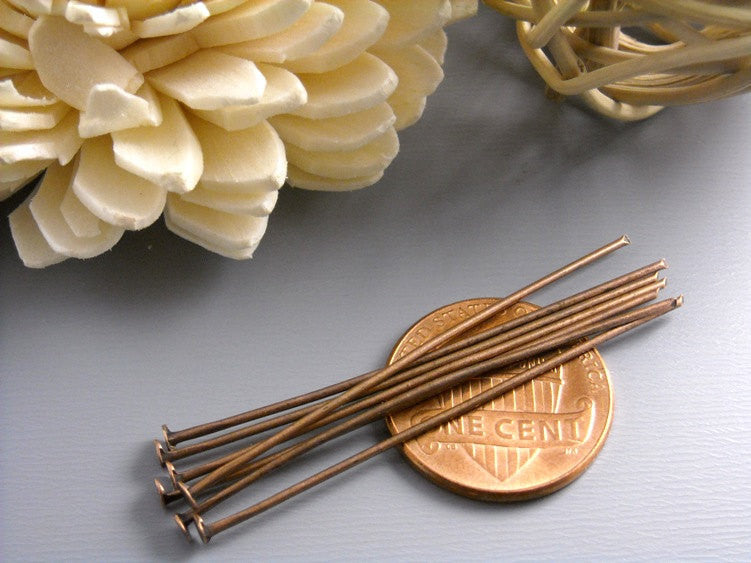 50 pcs of 45mm Antique Copper Headpins (20 guage)