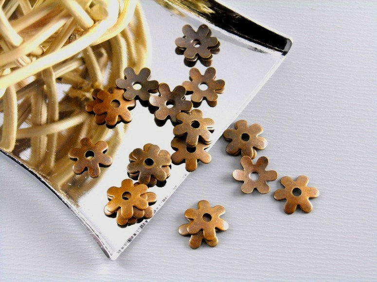 10 pcs Antique Bronze 18mm Flower Petal Bead Caps