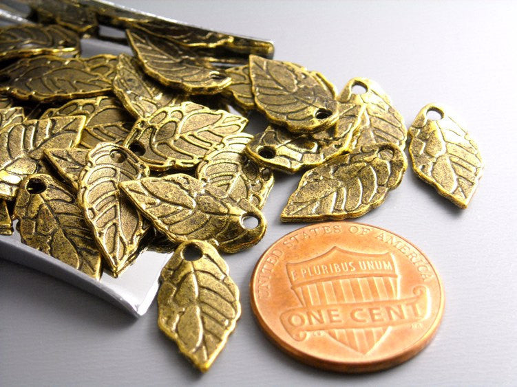 Antique Gold Mini Leaf Charms (16mm) - 20 pcs