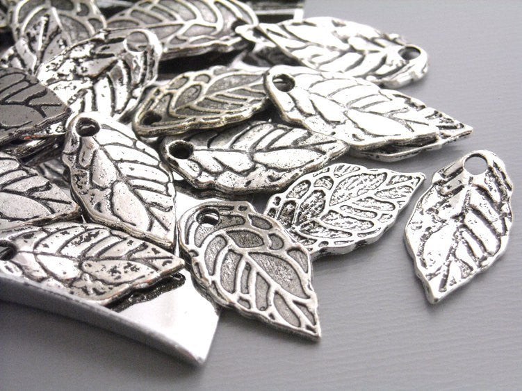 Antique Silver Mini Leaf Charms - 20 pcs