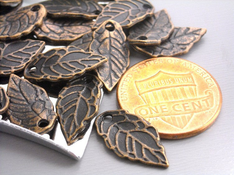 Antique Copper Mini Leaf Charms - 20 pcs