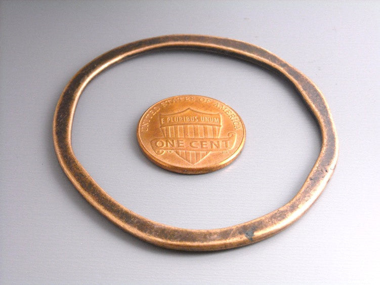 Large 53mm Antique Copper Circle Links - 2 pcs
