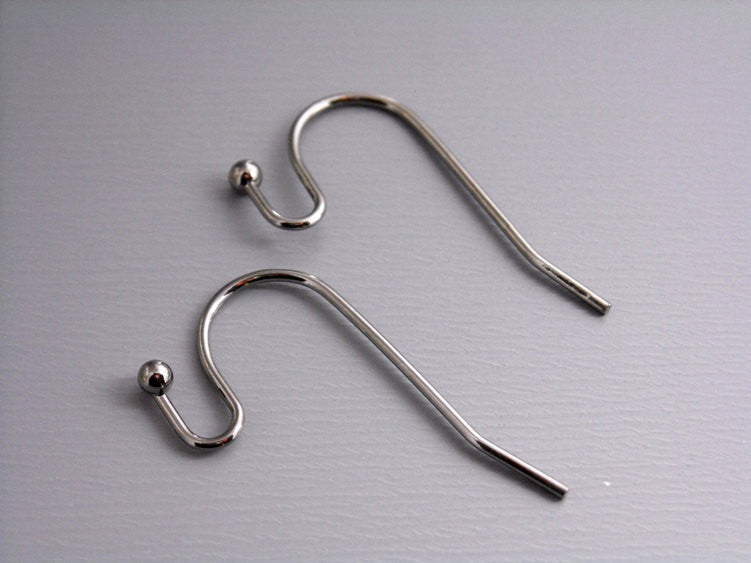 50 pcs of 22mm Gunmetal Plated Earwire with Ball Tip - Pim's Jewelry Supplies
