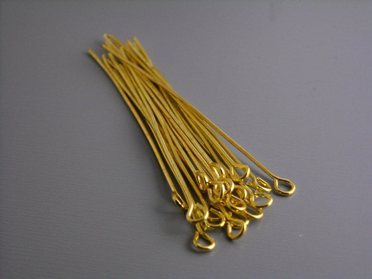 50 Gold Plated Eyepins, 21 gauge, 50mm (2 inches)