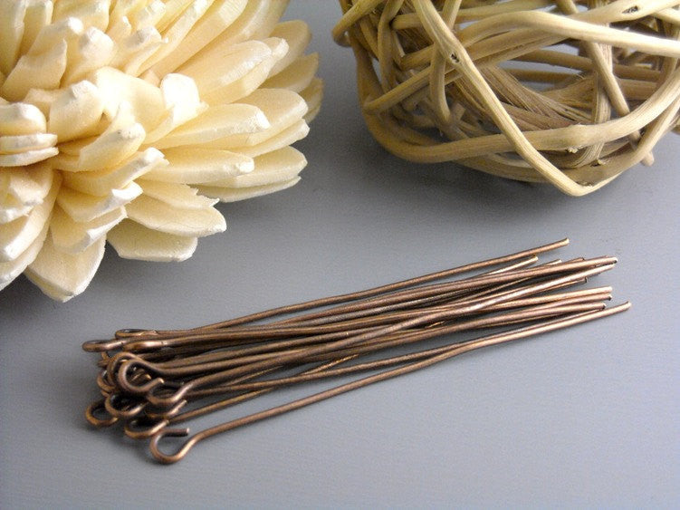 50 pcs of 45mm Antique Bronze Headpins (20 guage)