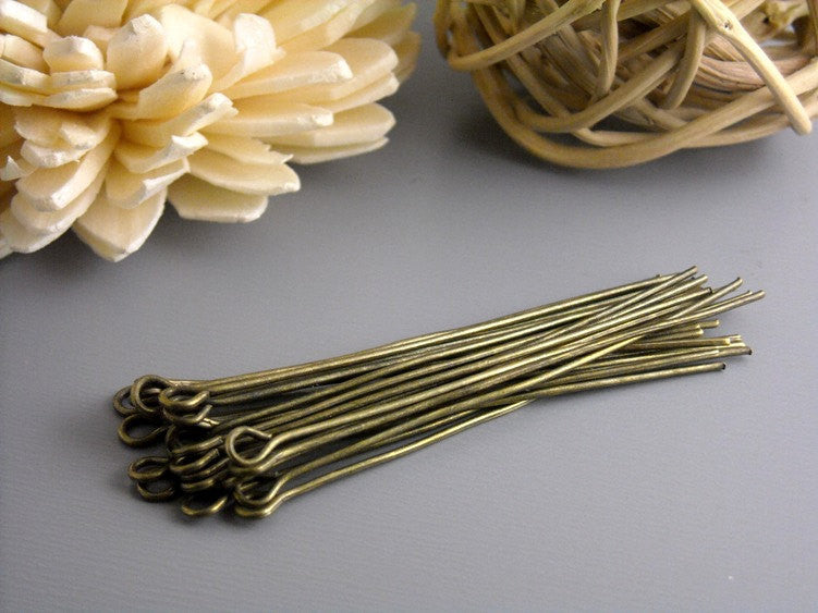 100 Antique Bronze Eyepins, 21 gauge, 50mm (2 inches)