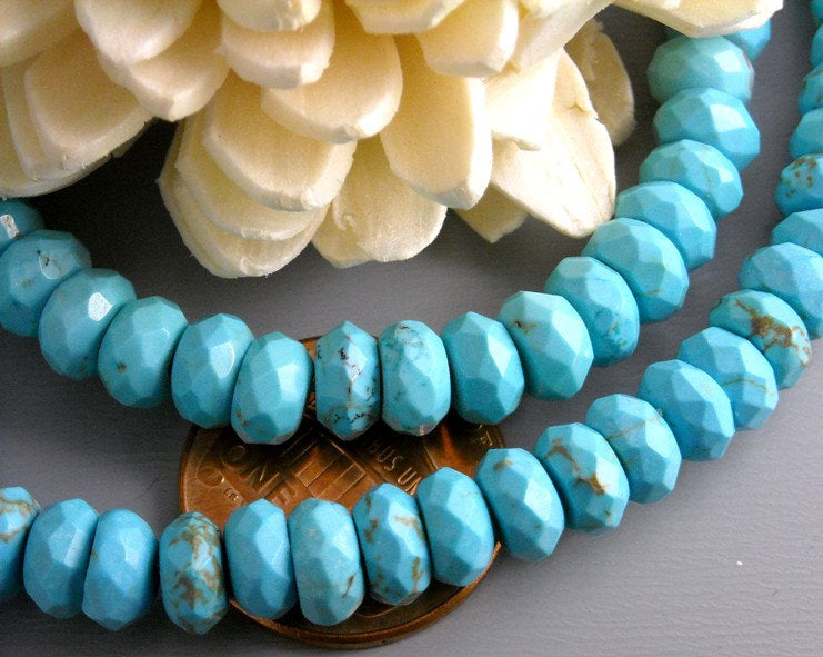 Full Strand Faceted Turquoise Rondelle 6mm x 3mm - 1 full strand - Pim's Jewelry Supplies