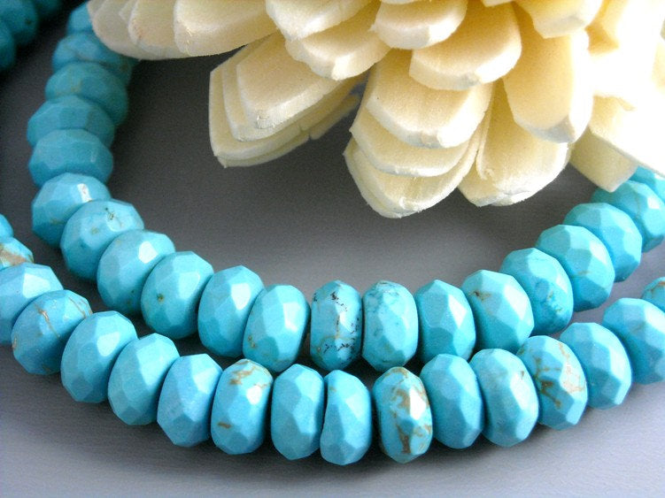 Full Strand Faceted Turquoise Rondelle 6mm x 3mm - 1 full strand