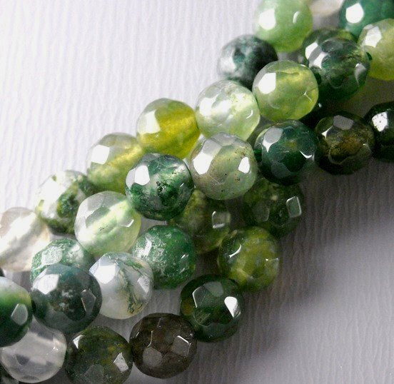 4mm Genuine Faceted Moss Agate, 15.5 strand, approx. 90 pcs