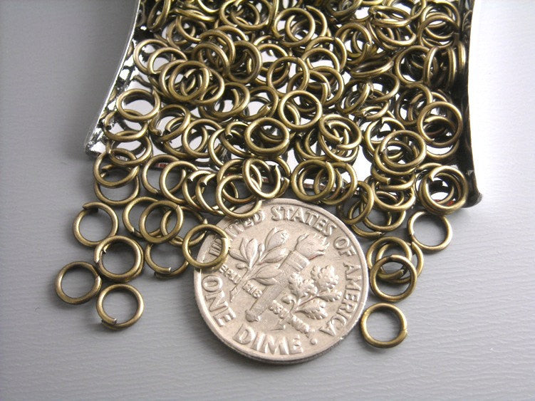 5mm Antique Bronze Unsoldered Jump Rings - 100 pcs - Pim's Jewelry Supplies