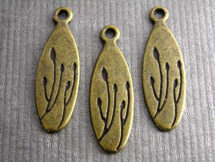 Antique Bronze New Buds Oval Charm - 6 pcs