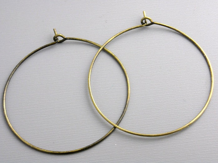 Hoop Earrings - Antique Bronze Plated - 35mm - 20 pcs (10 pairs)