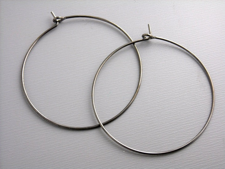 35mm Brass Hoop Earrings in Gunmetal - 20 pcs (10 pairs)