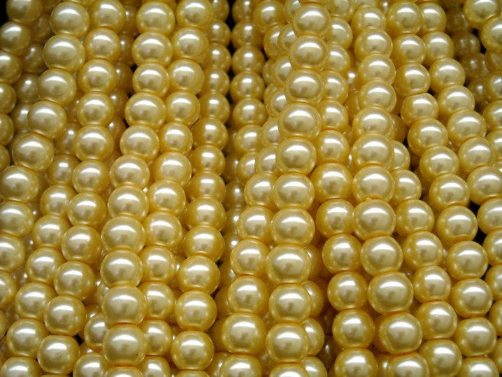 Czech Glass Pearl, Vanilla, 6mm, approx. 70 beads