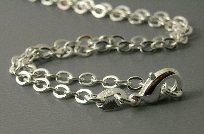 Necklace - Sterling Silver Plated - 3mm - Flatten Links - 18 inches