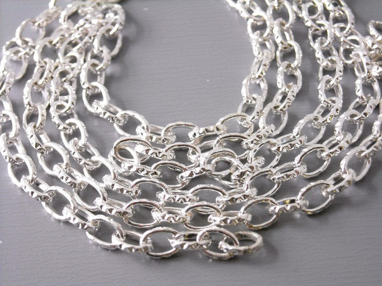10-Feet 4mm x 3mm Silver Plated Cable Chain