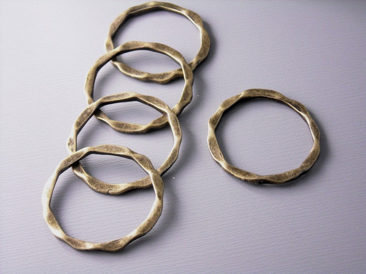 Antique Bronze Hammered Circle Connectors - 6 pcs